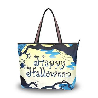 Bolsa de ombro com tema Happy Halloween Night Bolsa de ombro para mulheres e meninas, Multicolorido., Large
