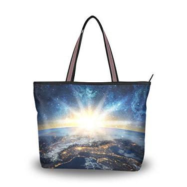 Bolsa de ombro feminina My Daily com espaço galáxia Terra, Multi, Medium