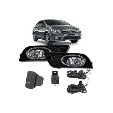Kit Farol de Milha Neblina Honda New Civic 2012 / 2013 / 2014 - Interruptor Modelo Original