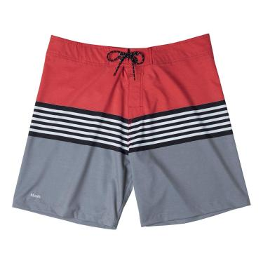 Shorts De Praia Boardshort Estampado Listras, Mash, 38, Vermelho, Masculino