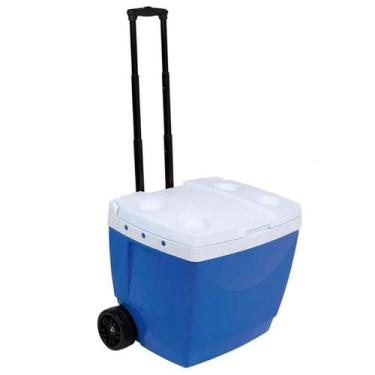 Imagem de Caixa Térmica 42 Litros Azul Com Rodinha Mor