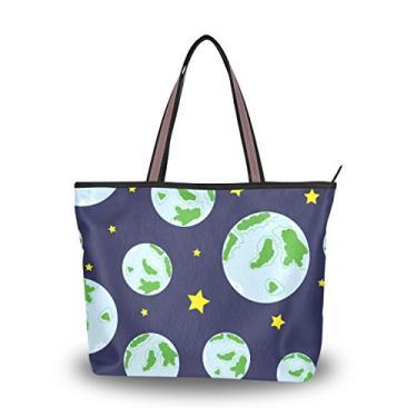 ColourLife Bolsa feminina com alça superior planeta Terra em azul bolsa de ombro, Multicolorido., Large