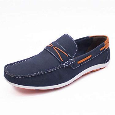 sapato mocassim, top de linha, masculinos em legitimo couro bovino, solado de borracha antiderrapante, modelo c-8020 cla (43, marinho/laranja)