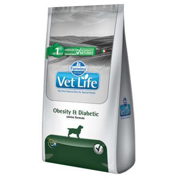 Ração Farmina Vet Life Natural Obesity & Diabetic para Cães Adultos Obesos ou Diabéticos - 2 Kg