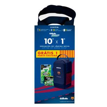 Kit Gillette Mach3 Sensitive Aparelho + 2 Refis Grátis Porta Chuteira  Barcelona 9016e0f2319c0