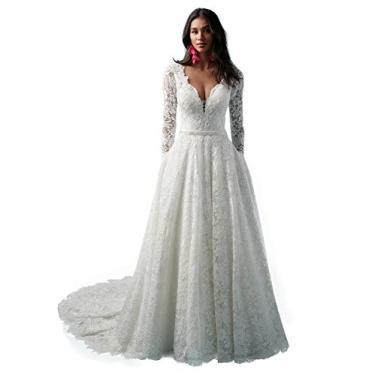 YMSHA Vestidos de casamento femininos para noiva 2020 com apliques de renda longo sereia Aline vestidos de noiva formal YMS041, A-ivory, 8