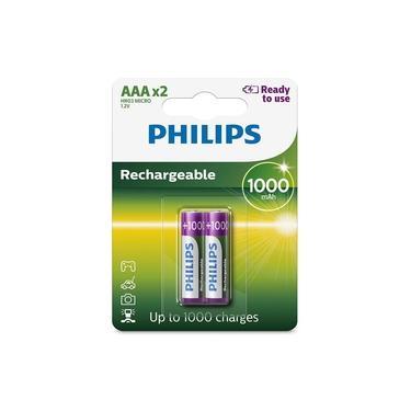 2 Pilhas Recarregáveis Philips Aaa 1000mAh Originais Palito Prontas pro Uso RTU