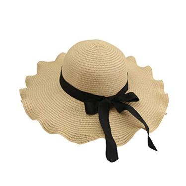Chapéu de palha com laço dobrável chapéu de sol aba larga chapéu grande onda para mulheres (bege)