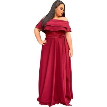 Vestido Longo Festa Madrinha de Casamento Formatura Plus Size (Marsala, G)