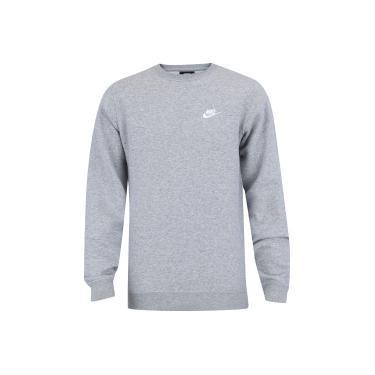 8ad13d4c17 Blusão de Moletom Nike Sportswear Crew Fleece Club - Masculino - CINZA Nike