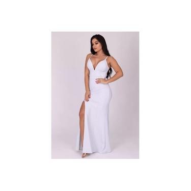 Vestido Miss Misses decote V Lurex Prata