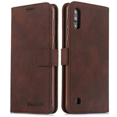 Capa para celular Samsung A10,[capa de couro TPU de alta qualidade] [carteira] [capa para celular com fivela magnética],Castanho