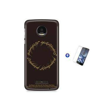 Kit Capa Case TPU Moto Z Play - Senhor dos Aneis The One Ring + Pel Vidro (BD30)