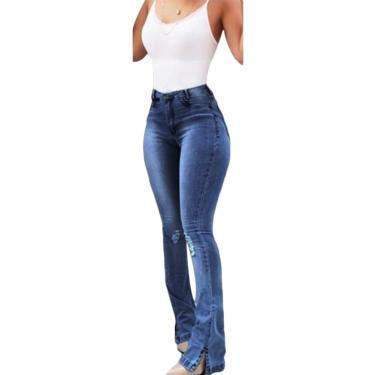 VeliHome Calça jeans skinny de cintura alta feminina super skinnys stretch slim boca de sino, calça flare retrô