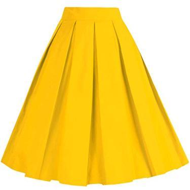 Saia midi plissada plissada evasê vintage Dressever, Amarelo, S