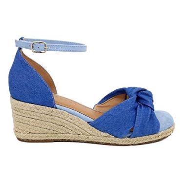 Sandália Anabela Jeans Azul Denim Sisal Nó 36