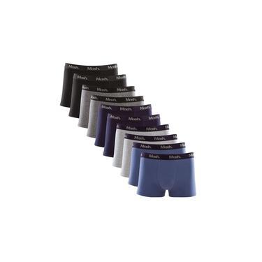 Imagem de Kit 10 Cuecas Boxer Mash Cotton Preto Cinza e Azul