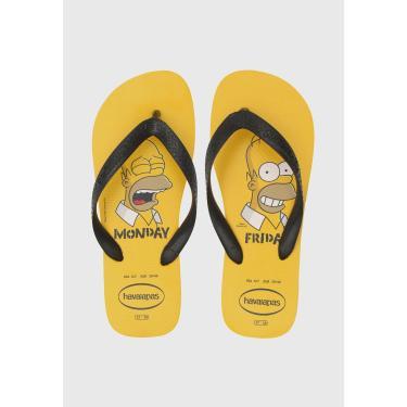 Sandália Havaianas Simpsons Amarelo/Preto Havaianas 4137889-0776 masculino