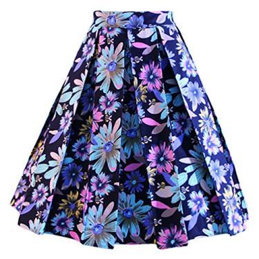 Dressever Saia midi plissada evasê com estampa vintage, Margarida colorida azul marinho, XL
