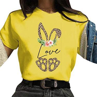 Novas camisetas femininas de coelhinho da Páscoa 2021, plus size, blusa de manga curta, gola redonda, túnicas soltas casuais de verão, Amarelo, XL