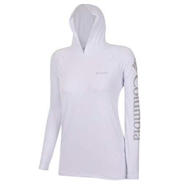 Camiseta Columbia Aurora Manga Longa Com Capuz Feminina -Branco M