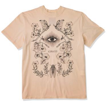 Colcci Camiseta Olho Feminino, G, Bege (Bege Saada)