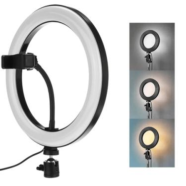 """Iluminador Led Circular 10"""" Ring Light Live USB com Suporte de Celular"""
