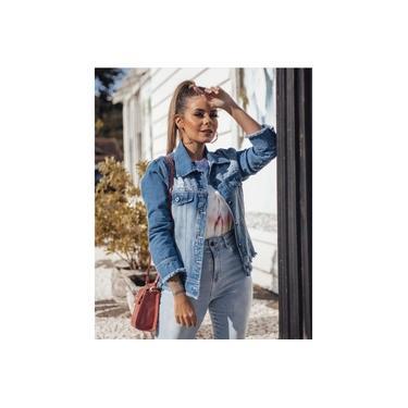 Jaqueta Jeans detalhes - Cor de Rosa