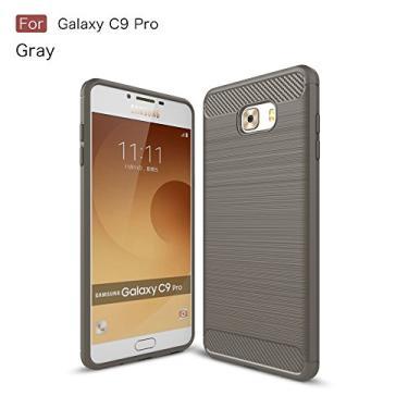Capa para Samsung Galaxy C9 Pro Capa traseira de fibra de carbono ultrafina TPU cinza