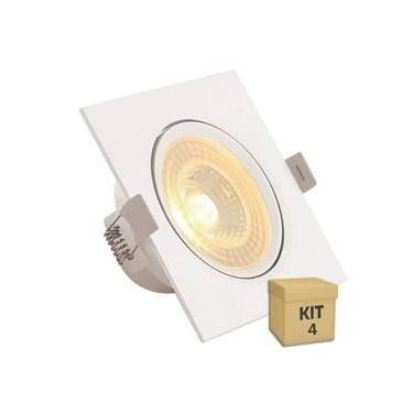 Kit 4 Spot Led Embutir 5w 3000k Quadrado Branco Quente Bivolt 2 Anos Garantia