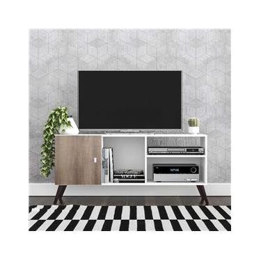 Rack para TV Até 32 Polegadas 1 Porta Retrô Rt3014 Branco/Rústico - Móvel Bento