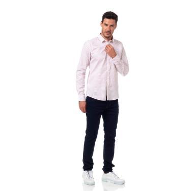 Camisa Estampada Classic, Colcci, Masculino, Branco/Rosa, G