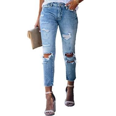 Calça jeans feminina rasgada slim fit lavada bainha crua desgastada da Sidefeel, Sky Blue, Medium