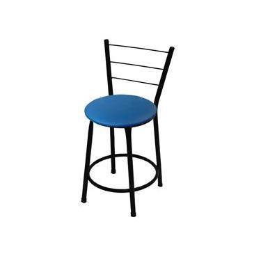 Banqueta Baixa Itália Preta C/ Assento Azul Ideal P/ Bar Restaurante Cozinha