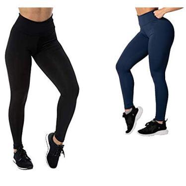 Kit com 2 Calças Legging Suplex Basic Veste Super Bem Modela o Corpo Não Fica Transparente Confortável Para Academia e Usar no Dia a Dia (GG, 1 Azul e 1 Preta)