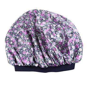 FRCOLOR Boné de dormir da moda em cor sólida flor de cetim impresso boné de noite elástico de aba larga para suprimentos de salão de casa (roxo)