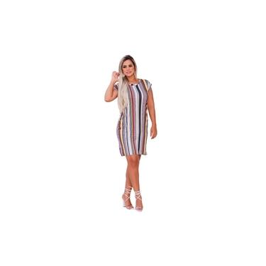 Vestido Feminino Midi Soltinho Moda Com Bolso Listrado