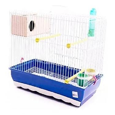 Gaiola Criadeira para Periquito e Pássaros Pequenos Completa com Ninho e Bandeja Deslizante Azul