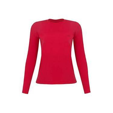 Camiseta Silver Fresh Feminina com Proteção Solar 50 Vermelha Manga Longa Curtlo