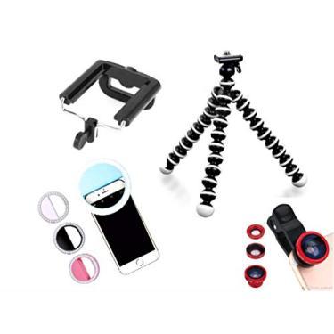 Kit Youtuber Tripé Flexível Para Celular Câmera + Kit Lentes + Luz de Selfie Ring Light Smartphone
