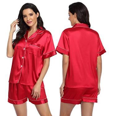 ARGCONNER Conjunto de pijama feminino de cetim de seda e manga curta, conjunto de pijama de duas peças, Vermelho, M