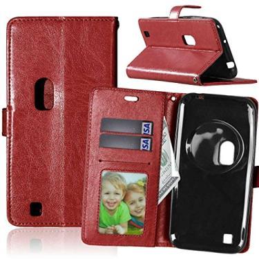 Capa para Asus ZenFone Zoom ZX550ML ZX551ML 5.5inch proteção de couro PU com 3 compartimentos para cartões capa flip (Marrom)
