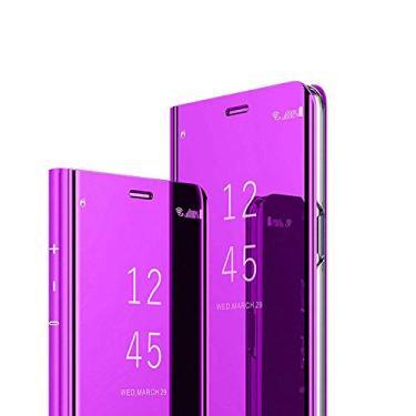 C-Super Mall Capa para Motorola Moto G8 Power Case, capa fina transparente com suporte dobrável dobrável para smartphone Motorola Moto G8 Power, roxo