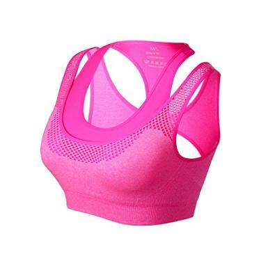 Imagem de Match Sutiã esportivo feminino sem aro acolchoado com costas nadador para yoga treino academia #005, Plum, Medium - Large