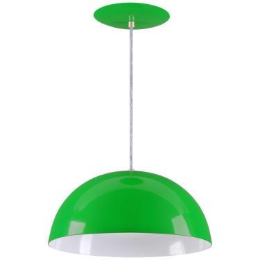 Pendente Meia Lua 34cm Luminária Alumínio Verde - Rei da Iluminação