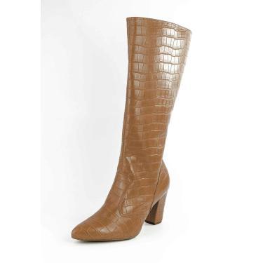 Bota Longa Bico Fino Salto Bloco Croco Caramelo  feminino