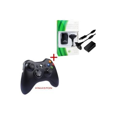 Controle Xbox 360 Sem Fio Joystick Wireless H'Maston + Bateria Para Controle Xbox 360 Original Feir 6800mAh