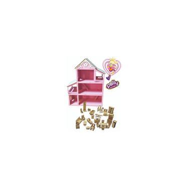 Imagem de Casa Casinha de Boneca Polly Barbie Pocket em Mdf Pintado Rosa Com 38 Mini Moveis Fácil de Montar 60cm