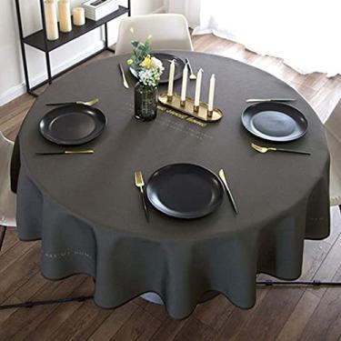 Imagem de Toalha de mesa de vinil com forro de flanela redonda 100 cm 100 cm, conjuntos de toalha de mesa para sala de jantar, capa de mesa para mesa de jantar de plástico, à prova d'água, à prova de