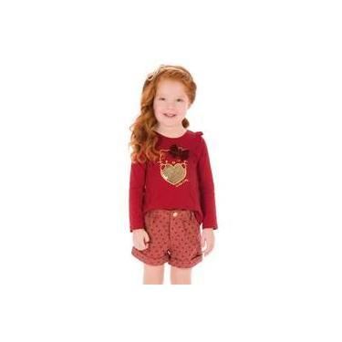 Conjunto Menina Vermelho Com Hello Kitty Dourada E Short Lã Corações
